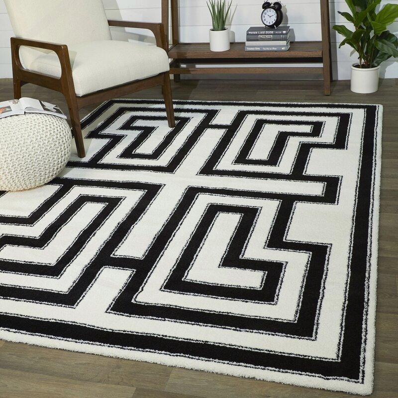 Everly Quinn Zeitz Geometric Black White Area Rug Wayfair
