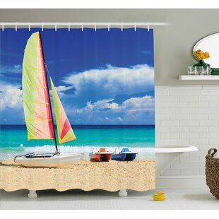 Boat and Waves Decor Single Shower Curtain