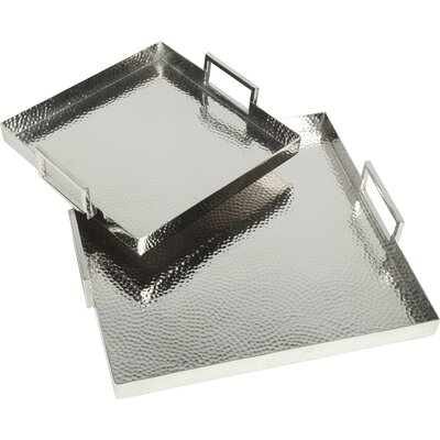 Brayden Studio Hammered Square 2 Piece Serving Tray Set