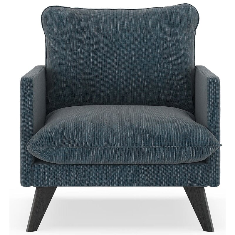 17 Stories  Dillingham Armchair Finish: Black, Upholstery: Navy Gray
