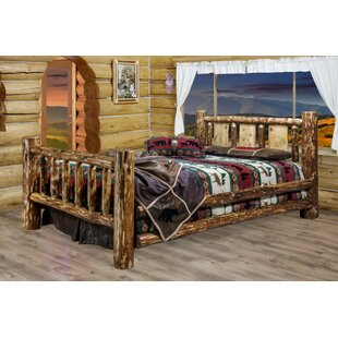 Loon Peak Tustin Panel Bed with Laser Engraved Wolf Design