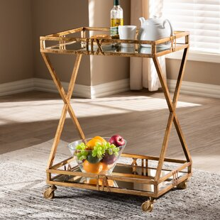 Yerger 2-Tier Mobile Bar Cart by House of Hampton