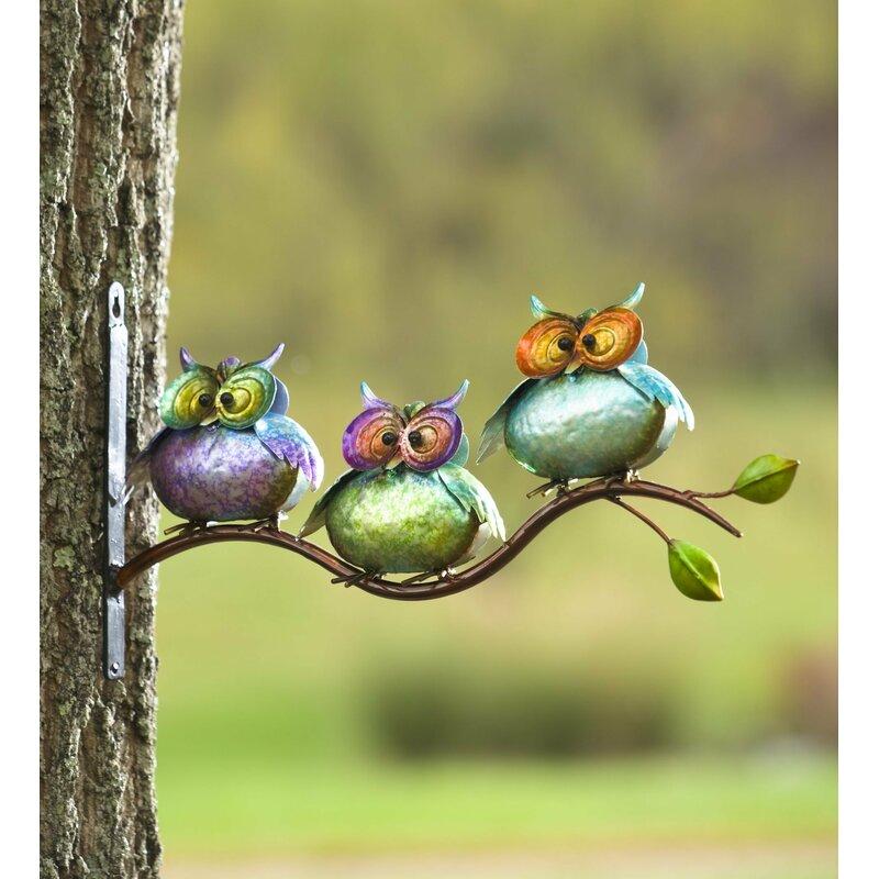 Plow & Hearth 3 Metal Owls on Branch Wall Decor & Reviews | Wayfair