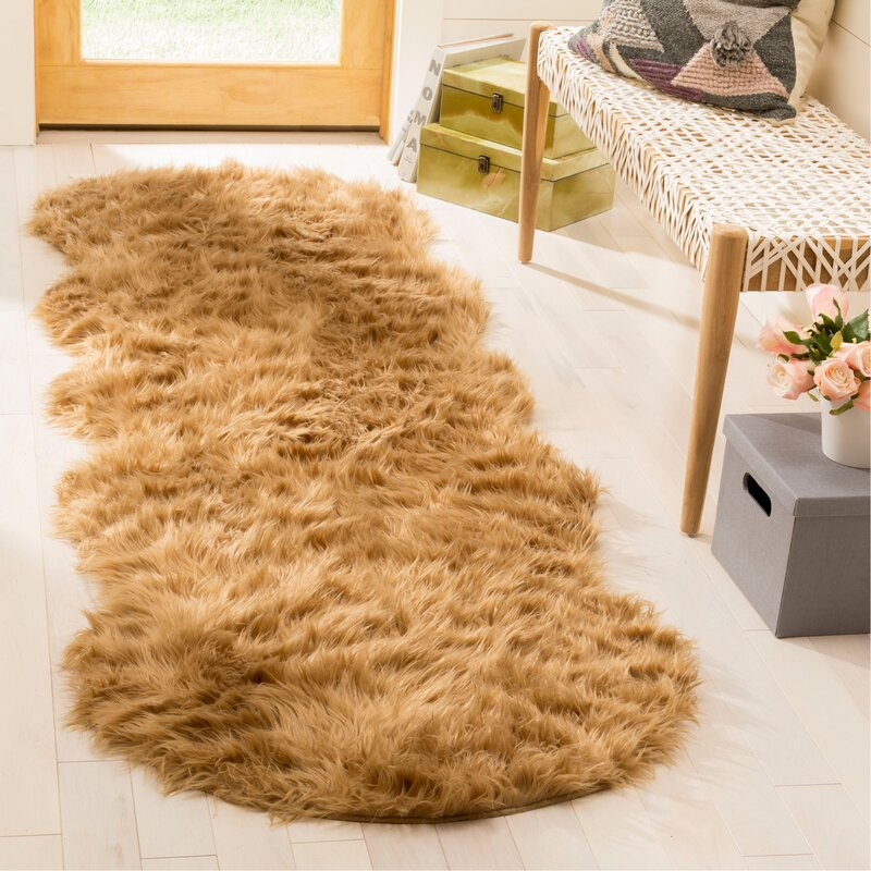 Isacc Hand Tufted Faux Fur Brown Tan Area Rug