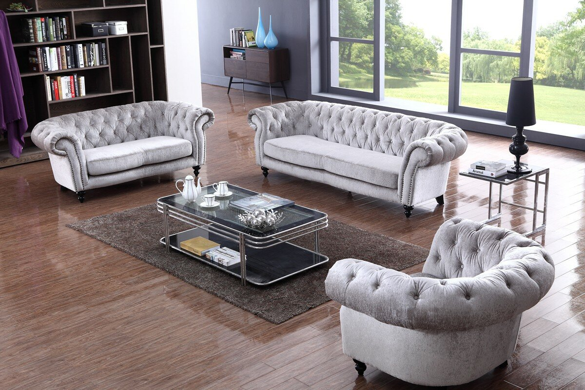 $1999.00 Manhattan Top-Grain 3-Piece Leather Living Room Set ...