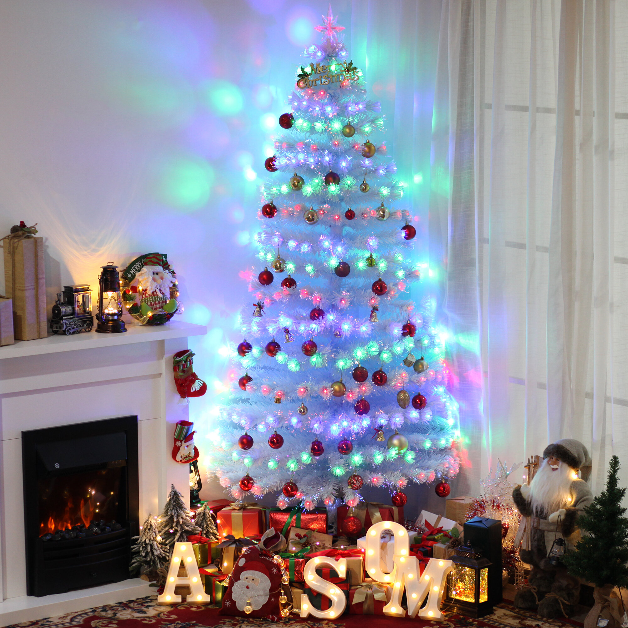 The Holiday Aisle 7 White Spruce Artificial Christmas Tree With 280 Multi Color Lights Reviews Wayfair