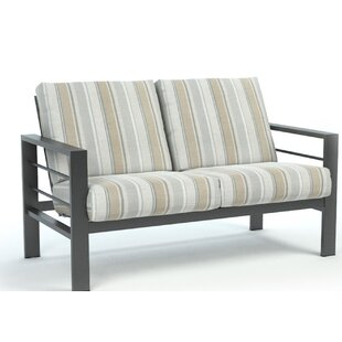 Fuentes Trusted Fog Low Back Loveseat with Sunbrella Cushions
