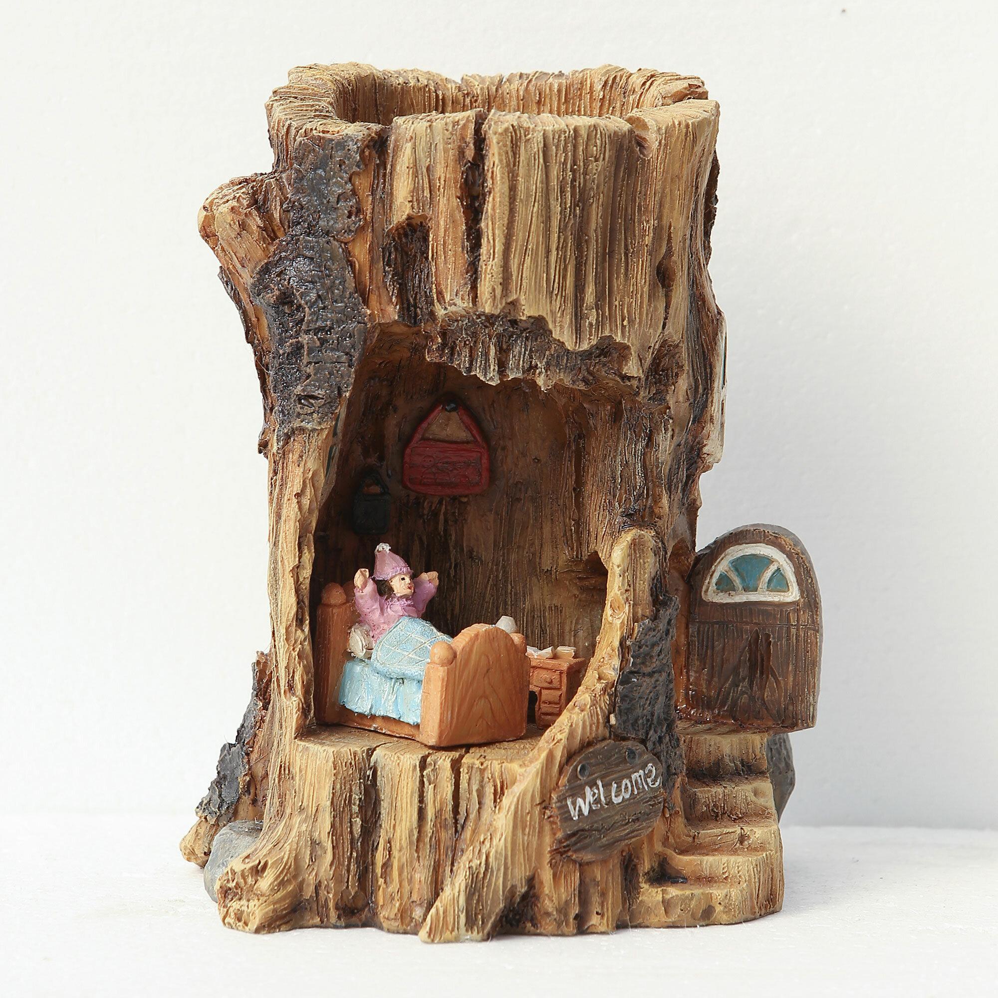 WinsomeHouse 4 Piece Solar Log House Miniature Fairy Garden Set ...