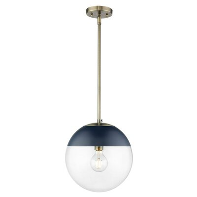 Joss Mainhammons 1 Light Single Globe Pendant Size 52 375 H X 7 75 W X 7 75 D Base Finish Black Shade Color Navy Clear Dailymail