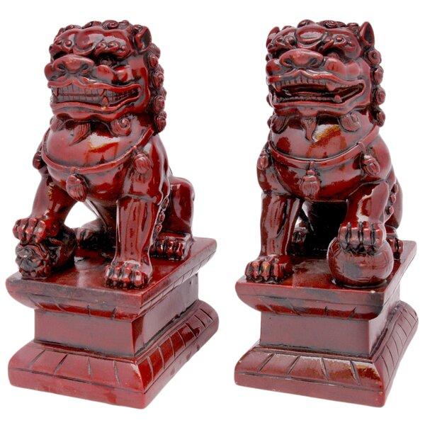 World Menagerie Fu Dog 2 Piece Figurine Set Reviews Wayfair