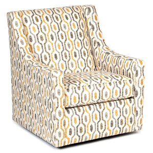 Adriel Modern Linen Swivel Armchair by Latitude Run