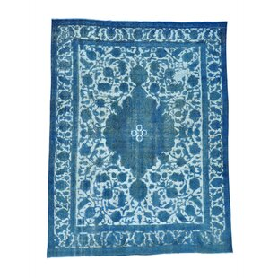 Comparison One-of-a-Kind Overdyed Vintage Hand-Knotted 9'7 x 12'6 Wool Blue/White Area Rug By 1800GETARUG