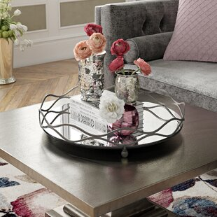 Round Mirror And Metal Mirrored Tray