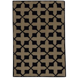 Online Reviews Rachelle Hand-Tufted Wool Black/Beige Area Rug By Alcott Hill