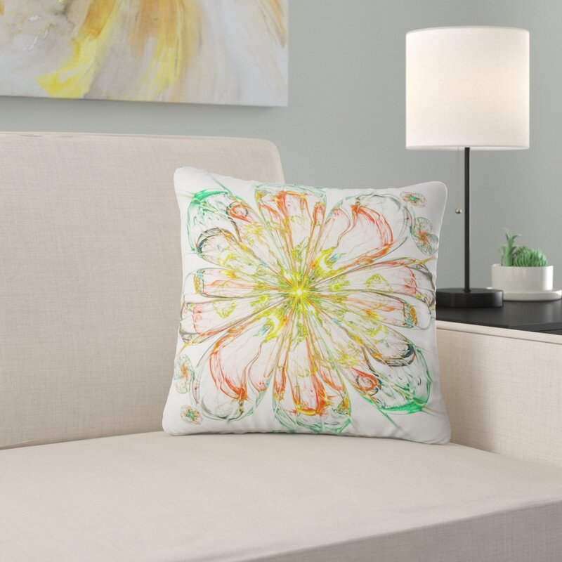 East Urban Home Floral Perfect Shiny Fractal Flower Throw Pillow Wayfair