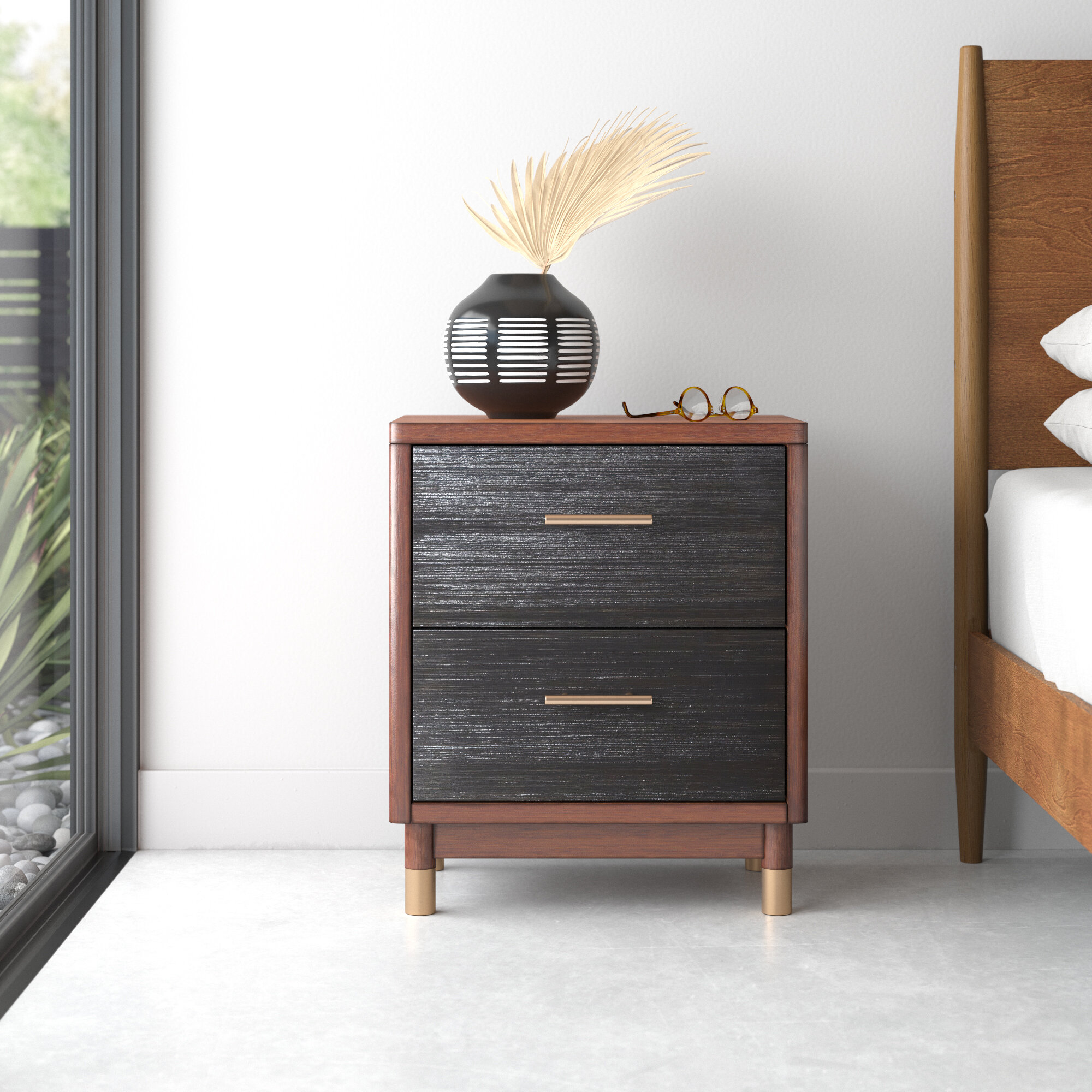 Twedt 2 Drawer Nightstand In Brown Reviews Allmodern