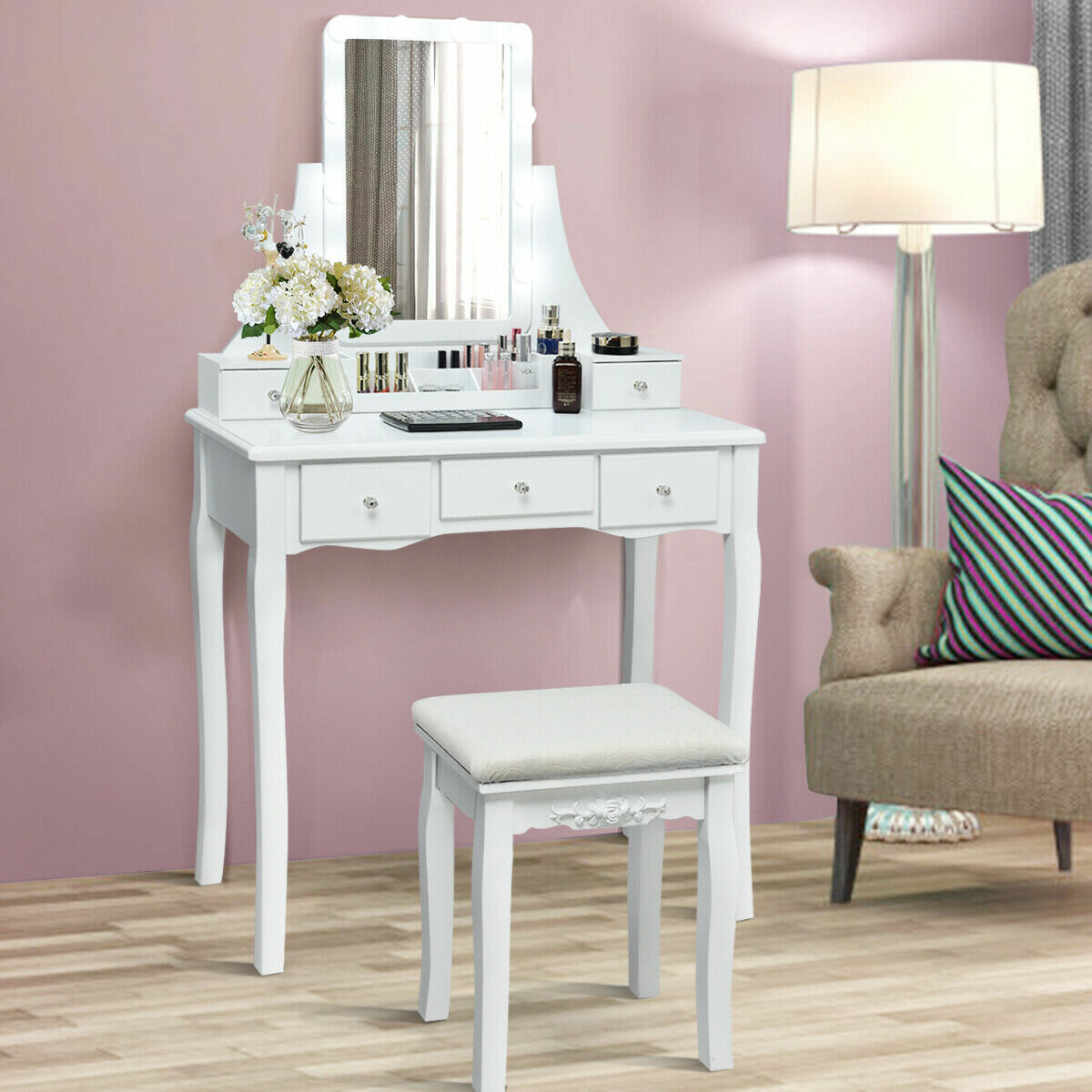 House Of Hampton Craner Solid Wood Vanity Set With Stool And Mirror Reviews Wayfair