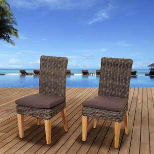Elsmere Teak Patio Dining Chair with Cushion (Set of 2)