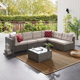 Newberg Wicker/Rattan 6 - Person Seating Group with Cushions