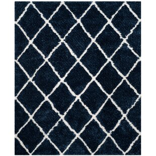 Read Reviews Lindsay Hand-Tufted Navy/White Area Rug By Brayden Studio
