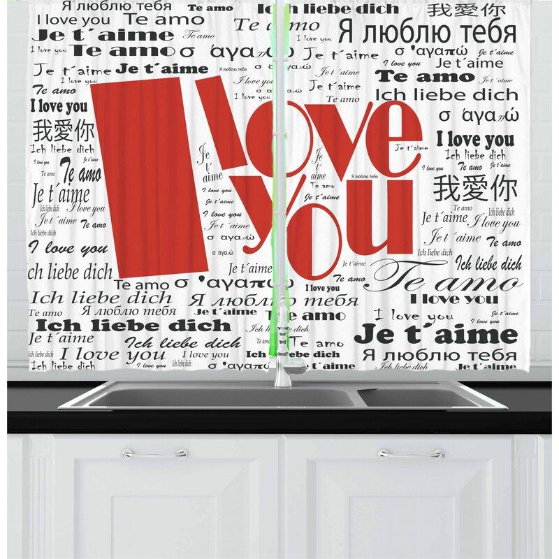 East Urban Home 2 Piece I Love You Kitchen Curtain Wayfair