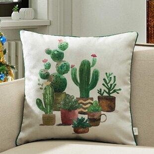 Brookside Houseplants Cactus Indoor/Outdoor Throw Pillow