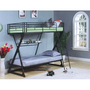 Haverstraw Metal Twin over Twin Bunk Bed with Bookcase by Harriet Bee