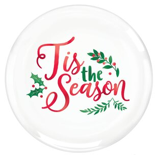 Christmas Tis the Season Plastic Disposable Dinner Plate (Set of 10)