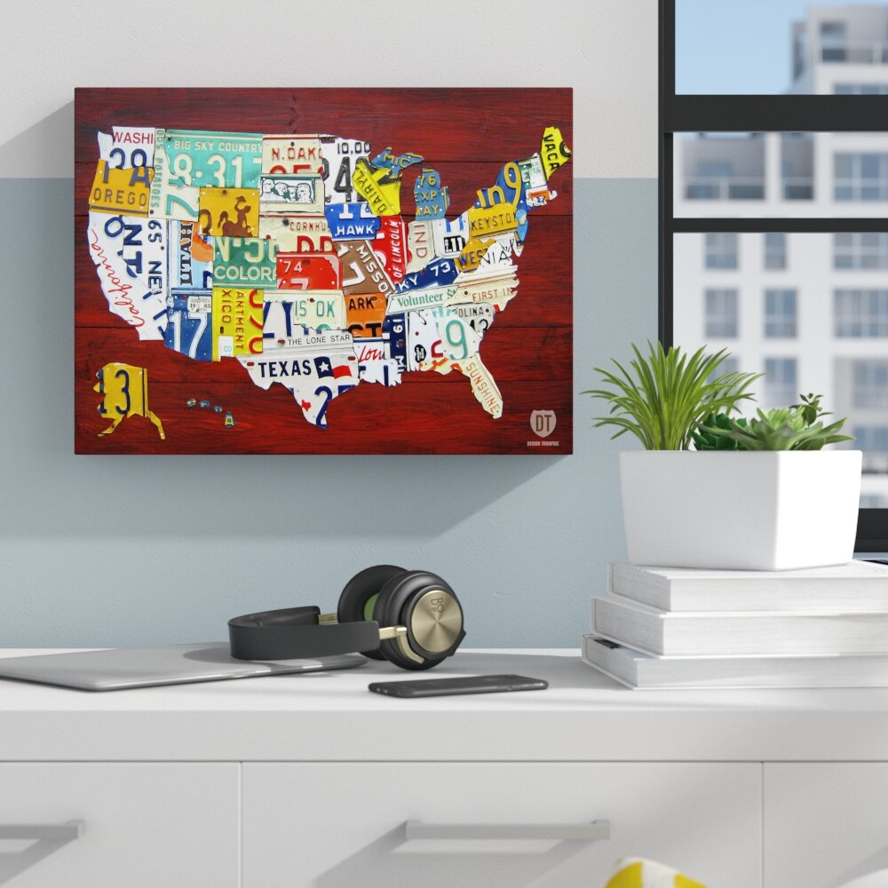 Zipcode Design \'License Plate Map USA\' Graphic Art on Wrapped Canvas ...
