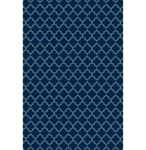 Fisher Quaterfoil Design Blue/White Indoor/Outdoor Area Rug