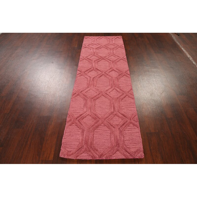 Handmade Tufted Wool Pink Area Rug