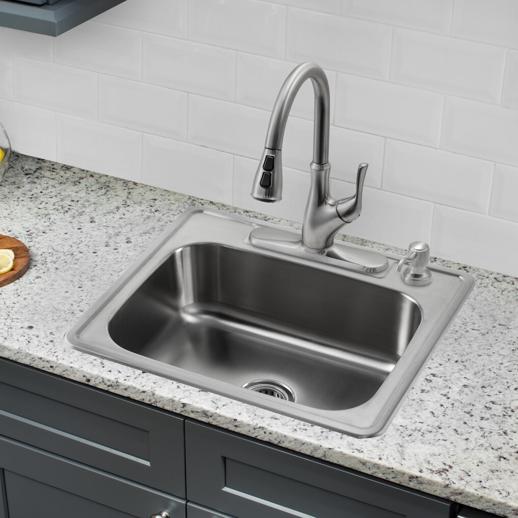 Soleil 25 l x 22 w single bowl drop in stainless steel kitchen sink with faucet wayfair