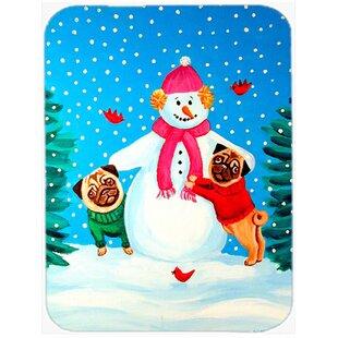 Snowman with Pug Glass Cutting Board