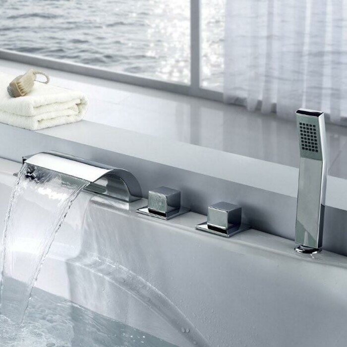 bathtub faucet. Triple Handle Deck Mount Waterfall Tub Faucet with Handshower Sumerain