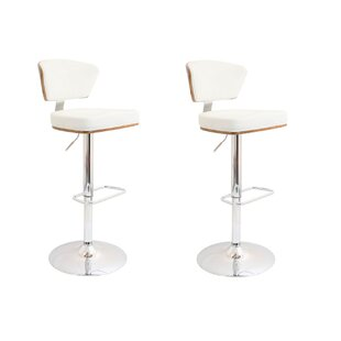 Lessing Adjustable Height Swivel Bar Stool (Set of 2) Brayden Studio