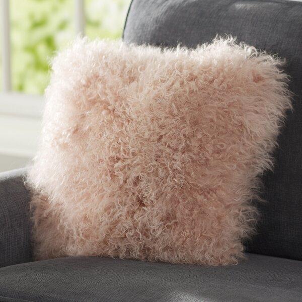 Pink Mongolian Fur Pillow   Wayfair