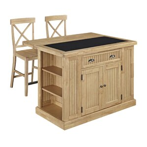 Rabin Kitchen Island Set with Granite Top by Beachcrest Home