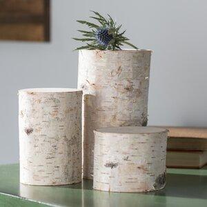 3 Piece Decorative Birch Pillar Set