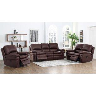 Geismar 3 Piece Leather Reclining Living Room Set