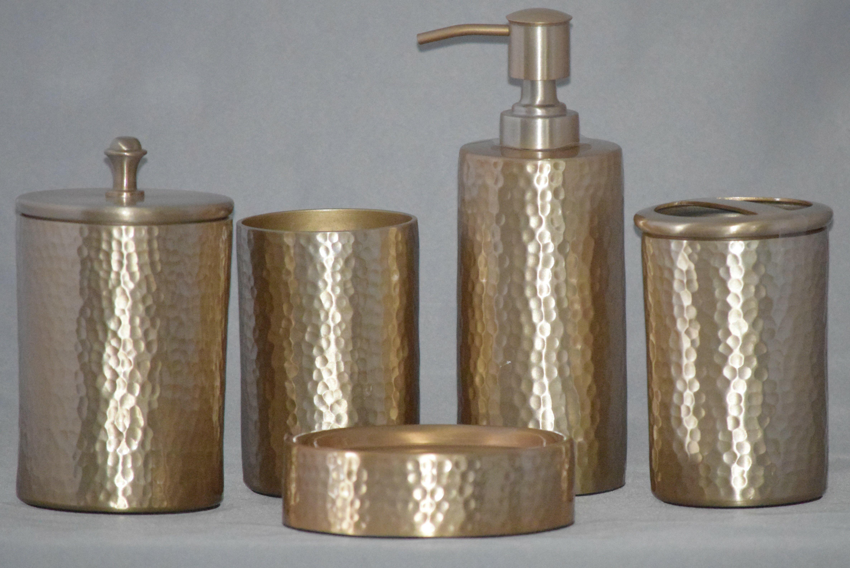 Elegant /& Modern 4-Piece Glass Bathroom Accessories /&Spa Champagne Accessory Set