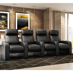 Leather Manual Rocker Recline Home Theater Row Seating (Row of 4) by Latitude Run