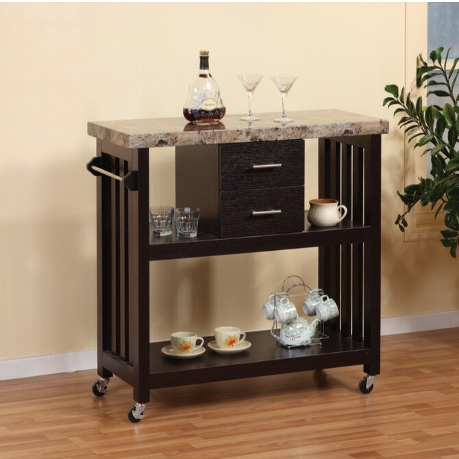 Houchins Kitchen Cart with Faux Marble Top