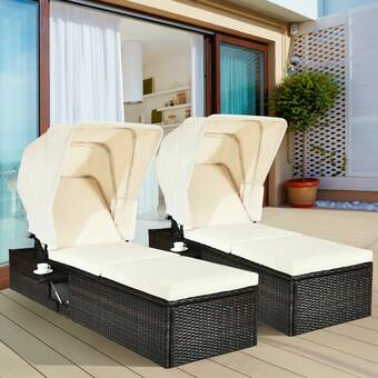 Latitude Run Andreal Double Sun Lounger Set With Cushion And Table Reviews Wayfair
