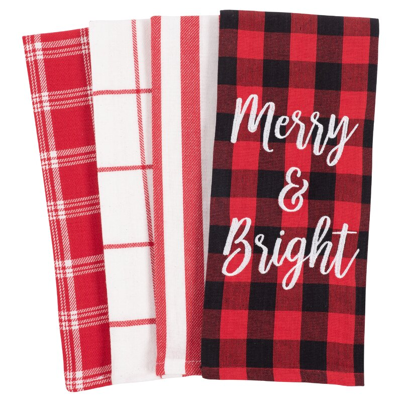 4 Piece Merry and Bright Assorted Linens Set