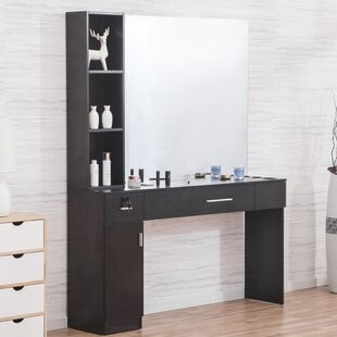 Shumake Wall Mount Hair Styling Barber Station 2 Drawer Combo Dresser with Mirror by Symple Stuff