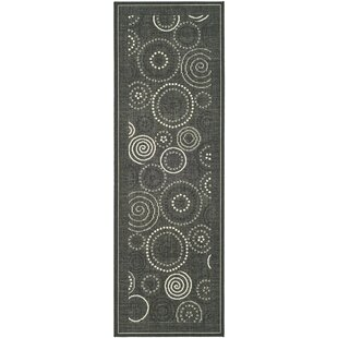 Inexpensive Mullen Black/Sand Circle Outdoor Rug By Ebern Designs