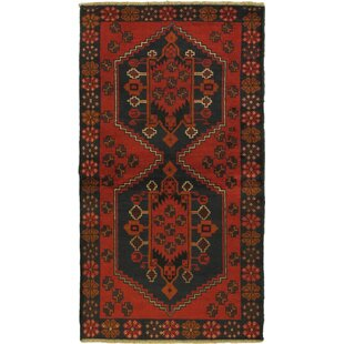 One-of-a-Kind Divine Hand-Knotted Wool Red/Black Area Rug Isabelline