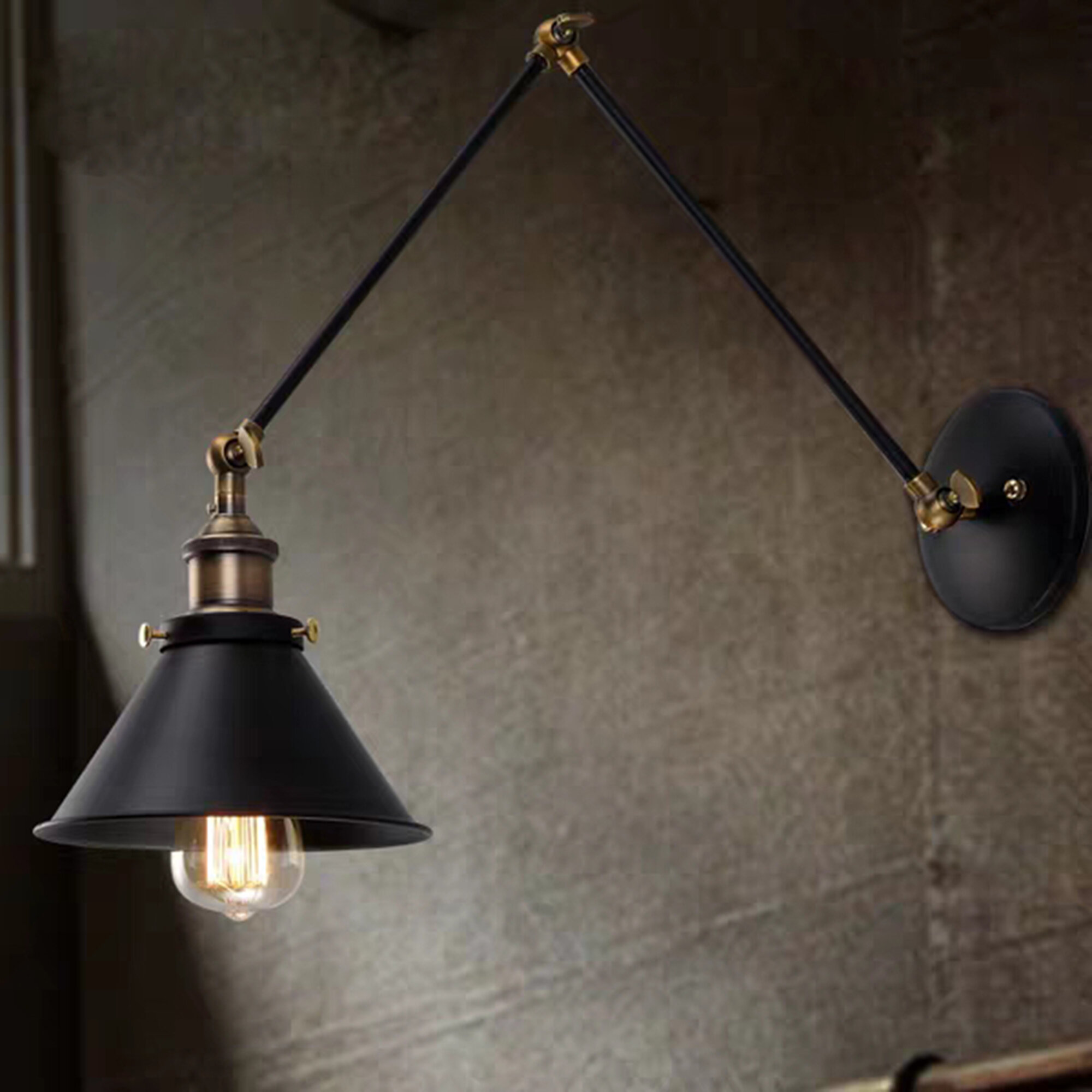 17 Stories Zeringue 1 Light Matte Black Antique Brass Armed Sconce Wayfair