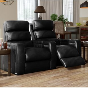 Orren Ellis Power Leather Home Theater Loveseat