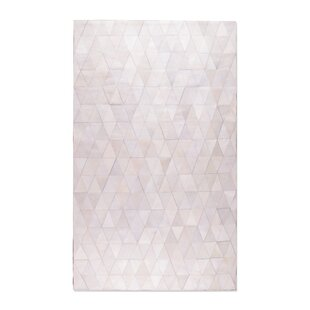 Dhairya Stitch Hand-Woven Cowhide Mosaik Off White Area Rug By 17 Stories